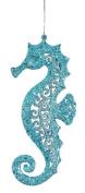 Teal Blue Glitter Seahorse Christmas Ornament