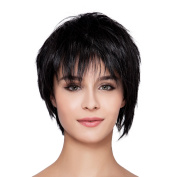 THZ Short Natural Black Straight Women's Flat Bangs Natural Top Quality Heat-resistance Full Hair Wigs