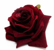 Dark Red Velvet Rose Hair Flower Clip and Pin