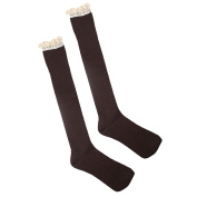 ABC(TM) Women Crochet Lace Trim Cotton Knit Footed Leg Boot Knee High Stocking