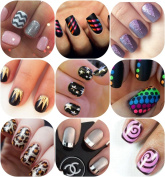 Back to the Basics Variety Nail Art Stencil Pack 10 Sheets 10 Different Designs