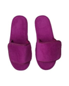 Terry Velcro Open Toe Unisex Slippers - Plum By TowelRobes