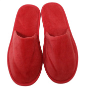 TowelRobes Terry Velour Closed Toe Unisex Slippers - Red