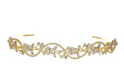 Bridal Flower Rhinestones Crystal Wedding Headband Tiara - Clear Crystal Gold Plated T1180