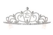 Birthday Party Rhinestone Crystal Tiara Crown - 15th Fifteenth Quinceanera T1167