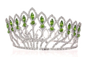 Pageant Beauty Contest Bridal Wedding Full Crown - Silver Plated Green Crystals T1185