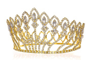 Pageant Beauty Contest Bridal Wedding Full Crown - Gold Plated Clear Crystals T1184