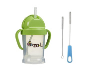 Zoli Bot Straw Sippy Cup with Sippy Cup Cleaner - Green