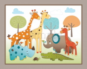 Giraffe Safari, Jungle Animals Nursery Wall Art, Decor. Kids Bedroom Decor