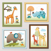 Giraffe Safari, Jungle Animals Nursery Wall Art, Decor. Kids Bedroom Decor (41cm x 50cm ,