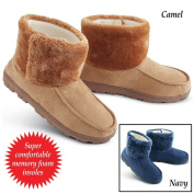 Collections Etc Faux Suede Memory Foam Slipper Booties