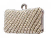 Sparkling Crystals Evening Clutch with Removable Shoulder Chain Pearl