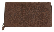 Women's Brown Natural Genuine Leather Wallet with Ornamental Stamping