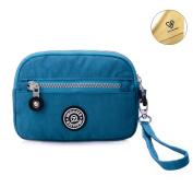 Tiny Chou (TM) Dual Layers Zipper Purse Waterproof Nylon Wristlet Bag Clutch Handbag Cell Phone Pouch