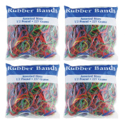 BAZIC Assorted Dimensions 227g/0.5 lbs. Rubber Bands, Multi Colour (465-48P) 4-Pack