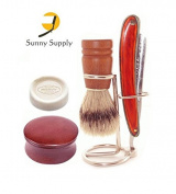 Wooden 5 Pc Straight Razor Stand Bowl Mens Shaving Kit / Set