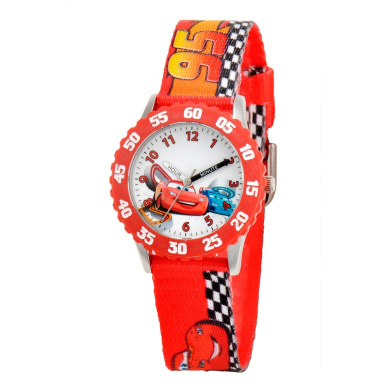 Disney Pixar Cars Lightning McQueen Stainless Steel Time Teacher Watch with Red Nylon Strap