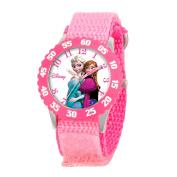 Disney Kid's Anna, Snow Queen Elsa Stainless Steel Watch with Pink Nylon Strap
