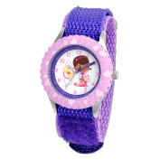 Disney Doc McStuffins Stainless Steel Time Teacher Watch with Purple Nylon Strap