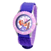Disney Sofia the First Stainless Steel Time Teacher Watch with Purple Nylon Strap