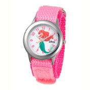 Disney Kid's Ariel Stainless Steel Watch with Pink Nylon Strap