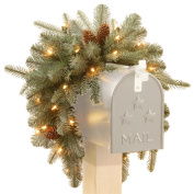 90cm  Frosted Arctic Spruce Mailbox Swag with Battery Operated Warm White LED Lights
