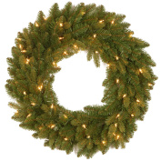 "National Tree 60cm ""Feel Real"" Avalon Spruce Wreath with 50 Clear Lights"