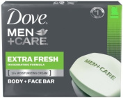 Lot of 16 Bars of Dove Men+Care Body and Face Bar, Extra Fresh 120ml/each bar