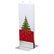 Flatyz Twin Wick Unscented Thin Flat Candle - Christmas Tree Bow