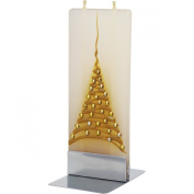 Flatyz Twin Wick Unscented Thin Flat Candle - Gold Christmas Tree