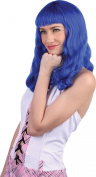 Ladies Fancy Dress Disco Party Katy Straight Cut Fake & Artificial Wig Blue