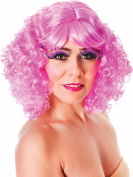 Ladies Fancy Dress Music Party Nicki Curly Short Fake & Artificial Wig Pink