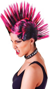 Ladies Fancy Dress Party Punk Mohican Mohawk Fake & Artificial Wig Pink/black