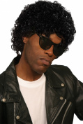 Mens Fancy Dress Disco Party Wet Look Curly Short Fake & Artificial Wig