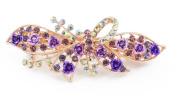 YESHINE Lovely Vintage Jewellery Rhinestone and Crystal beaded BowFlower Design Hair Barrette, for Hair Clips Beauty Tool,Purple