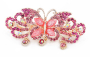 YESHINE Rhinestone Decor Alloy Butterfly Design French Hair Clip Barrette for Women,Pink