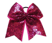 """New """"FANCY SEQUIN Magenta"""" Cheer Bow Pony Tail 7.6cm Ribbon Girls Hair Bows Cheerleading Dance Practise Football Games Competition Birthday"""