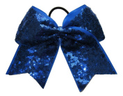 "New ""FANCY SEQUIN Sapphire Blue"" Cheer Bow Pony Tail 7.6cm Ribbon Girls Hair Cheerleading Dance Practise Football Games Competition Birthday"