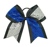 "New ""CONFETTI DOTS Blue & Silver"" Cheer Bow Pony Tail 7.6cm Ribbon Girls Hair Cheerleading Dance Practise Football Games Competition Birthday"