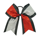 """New """"CONFETTI DOTS Red & Silver"""" Cheer Bow Pony Tail 7.6cm Ribbon Girls Hair Cheerleading Dance Practise Football Games Competition Birthday"""