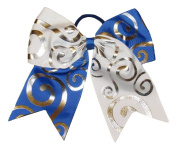 """New """"Silver Swirl WHITE & BLUE"""" Cheer Bow Pony Tail 7.6cm Ribbon Girls Hair Bows Cheerleading Dance Practise Football Game Competition Birthday"""