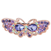 EASYA Fashion Women Jewellery Dancing Butterfly Crystal Rhinestone Hair Clips Hairpins- For Hair Clip Beauty Tools,Purple