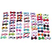 SEEKO 65PCS Handmade Cute Children Kids Mini Hair Clips Hair Alligator Bows Girl's Ribbon Hairpins Barrettes
