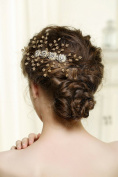 Venus Vintage Wedding Hair Combs with Bead and Flower - Bridal Headpiece for Bridesmaids