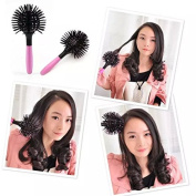 Popfeel Hot Curling Style Brush Hair Style Massage Comb 3D Round Hair Comb