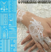 Tastto 8 Sheets Henna Body Paints Temporary Tattoos White Lace Stickers for Girls and Women