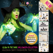 Halloween Tattoos - Glow in the Dark Tattoos - Mega Pack 4 Sheets (45+ tattoos) Halloween Tattoos for Kids - Halloween Party Favours
