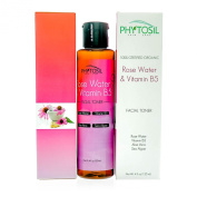 Rose Water & Vitamin B5 Toner - Softens Skin, Hydrates Dry Skin, Diminish Wrinkles, Fights Acne, Conditions & Promotes Hair Re-Growth -Certified Organic 100% Pure & Natural - Phytosil 120ml