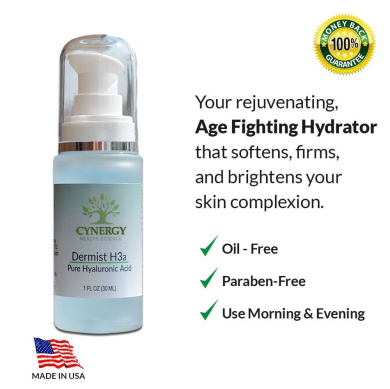 The BEST Pure Hyaluronic Acid -Dermist H3 - Most Hydration Around - No Animal Testing - No Additives - Purest Form - No Itchy Skin - 100% Natural Form - Firmer Skin - Lowest Trans-Epidermal Water Loss - Scar Reducing - Get Younger Skin NOW!