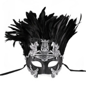 black and Silver Hercules with Feathers Greek Venetian Masquerade Mask